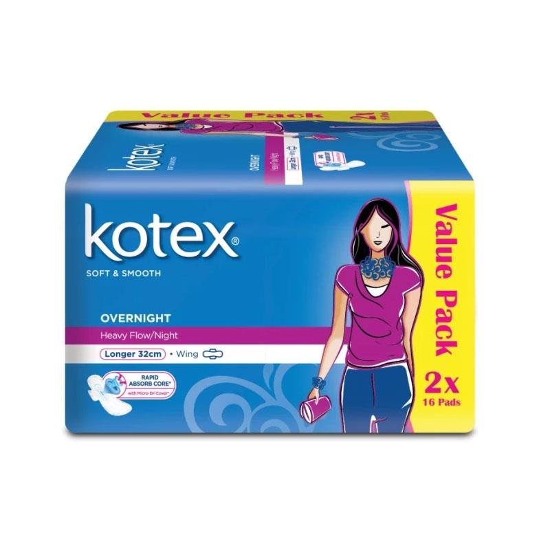 Kotex Pads Soft & Smooth Overnight 32cm Wing 2X16pc