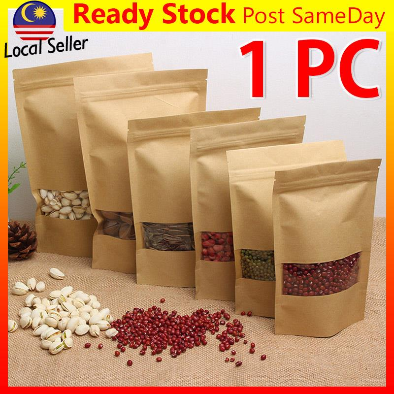 Kraft Zip Lock Window Paper Food Packing Bag Beg Plastik Makanan