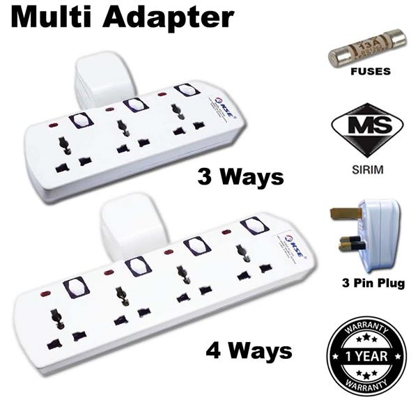 KSE 3 Pin/Uk Plug With 3 Ways/4 Ways Multi Universal Socket/Adapter Wi