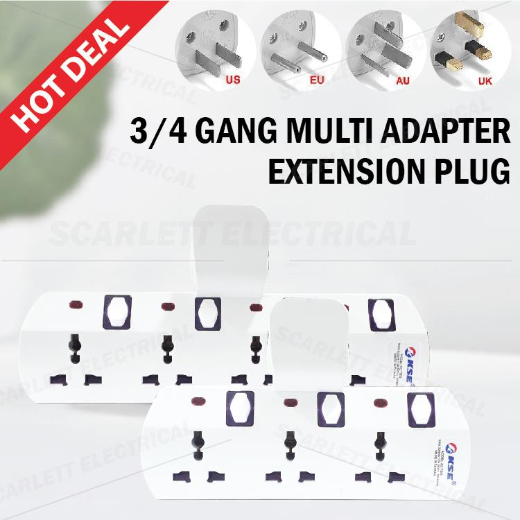 KSE 3 Way Universal Multi Adapter Extension Plug 3 GANG 4 GANG Socket