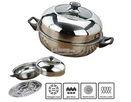 KW008 High Quality Hot Pot Steamed Soup Stainless Steel Ware 28cm