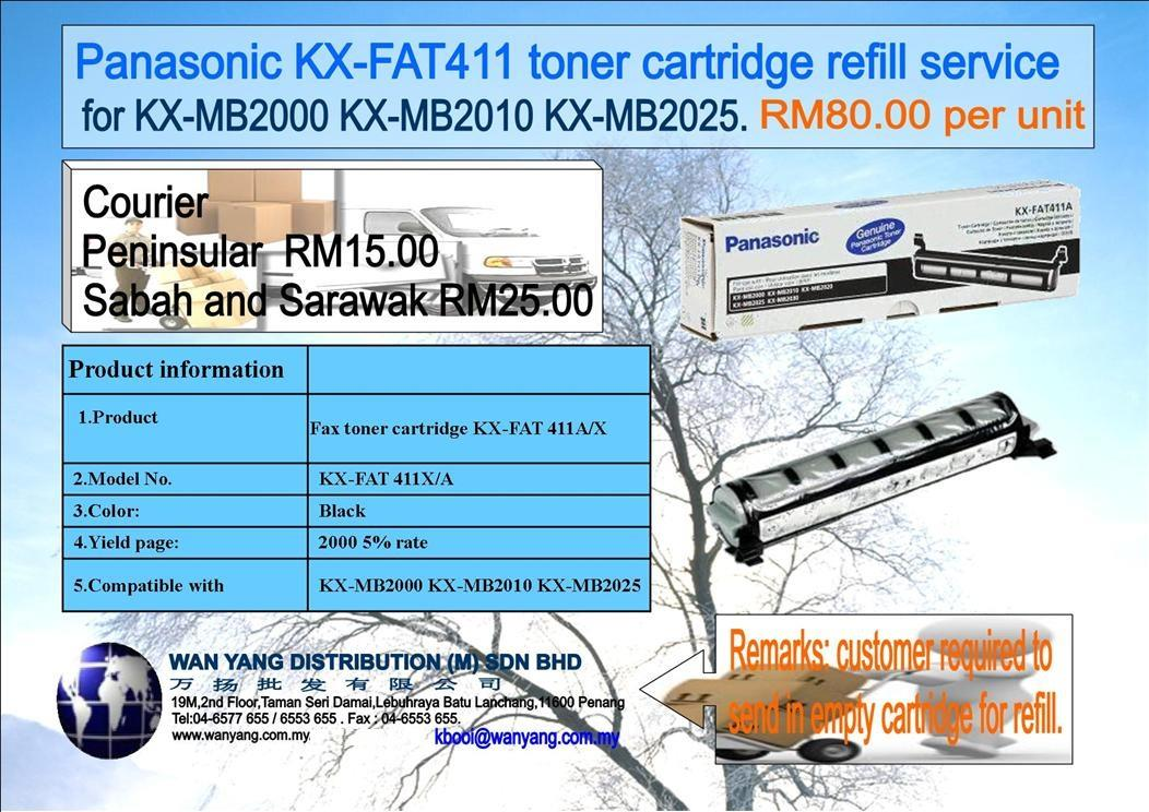 KX FAT411 Panasonic toner cartridge refill service