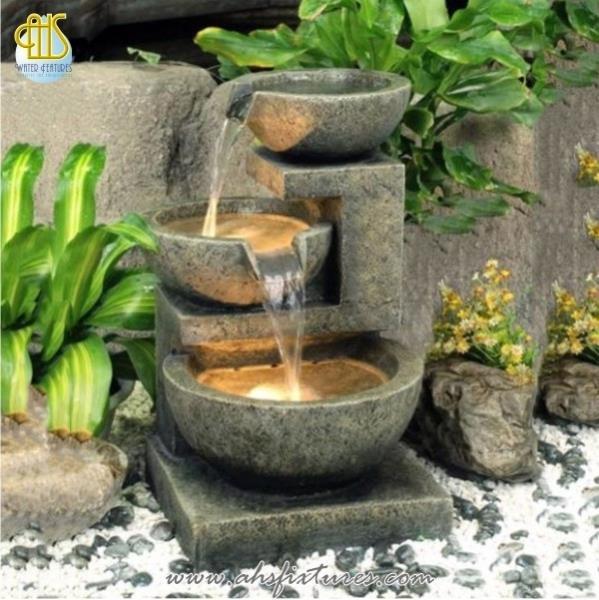 Kyoto 3 Bowl Cascade Lit Water Feature Garden Fountain
