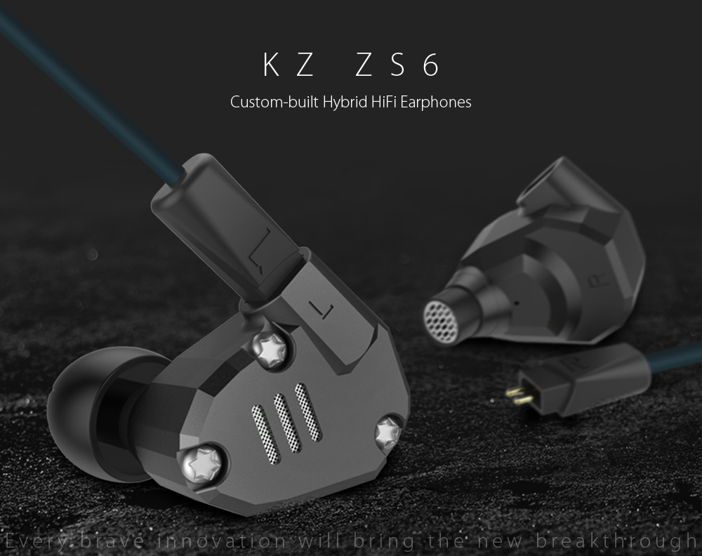 KZ ZS6 CUSTOM-BUILT HYBRID HIFI IN-EAR EARPHONES WITH MIC