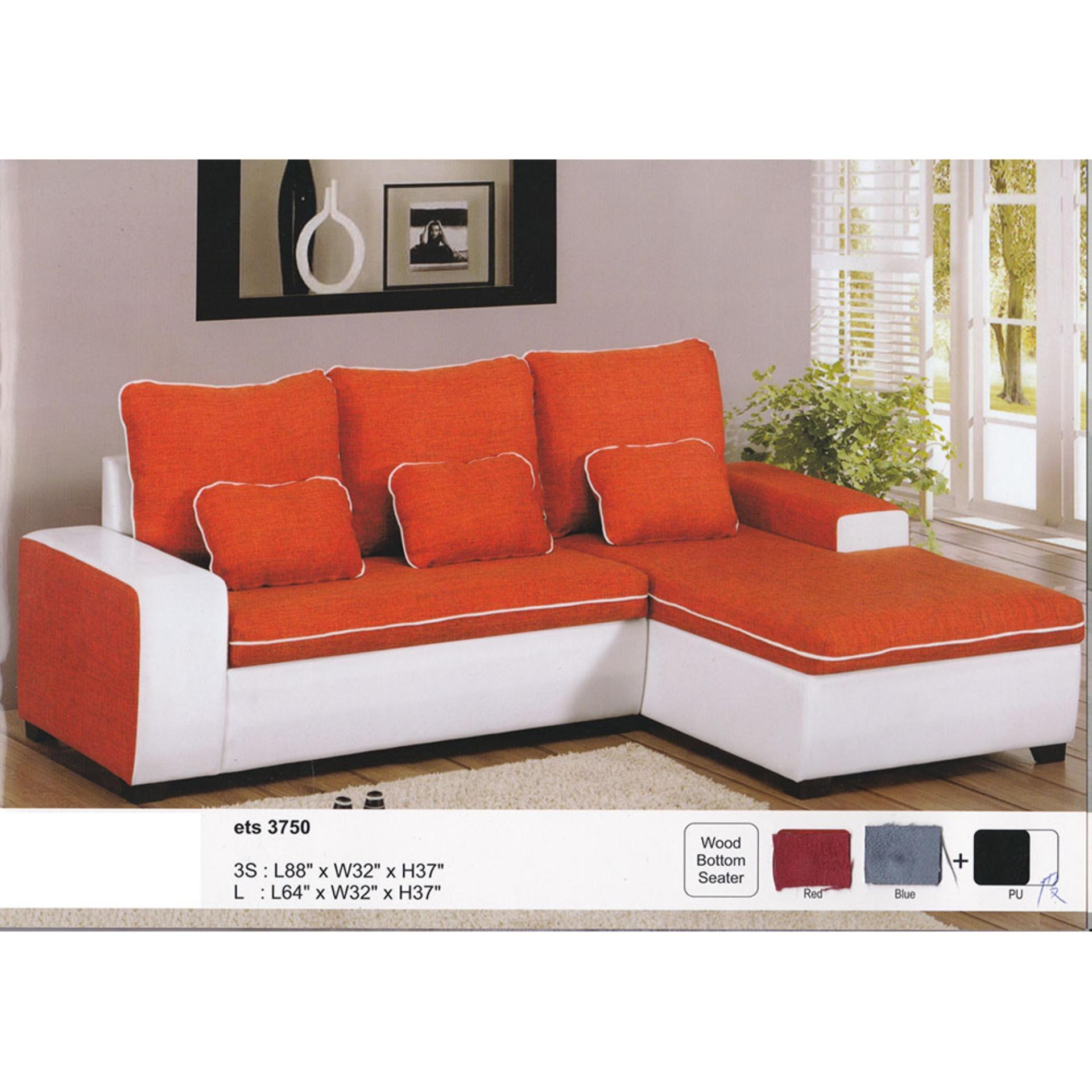 L-Shape Fully Water Resistant Fabric Sofa (Orange Color)