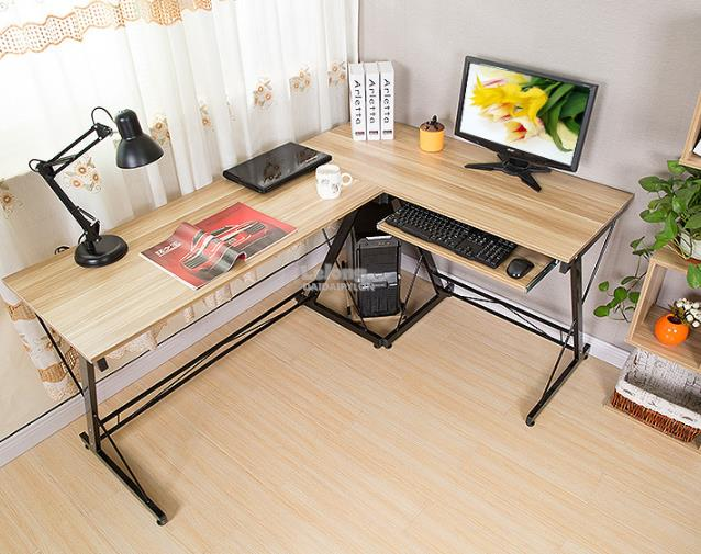 L Shape Office Computer Laptop Wooden Desk Study Table Meja  L-Shape