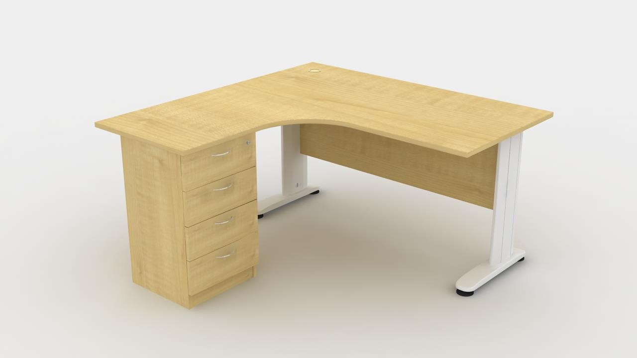 L   Shape Office Table C/w 4 Drawer (L /R) 1515
