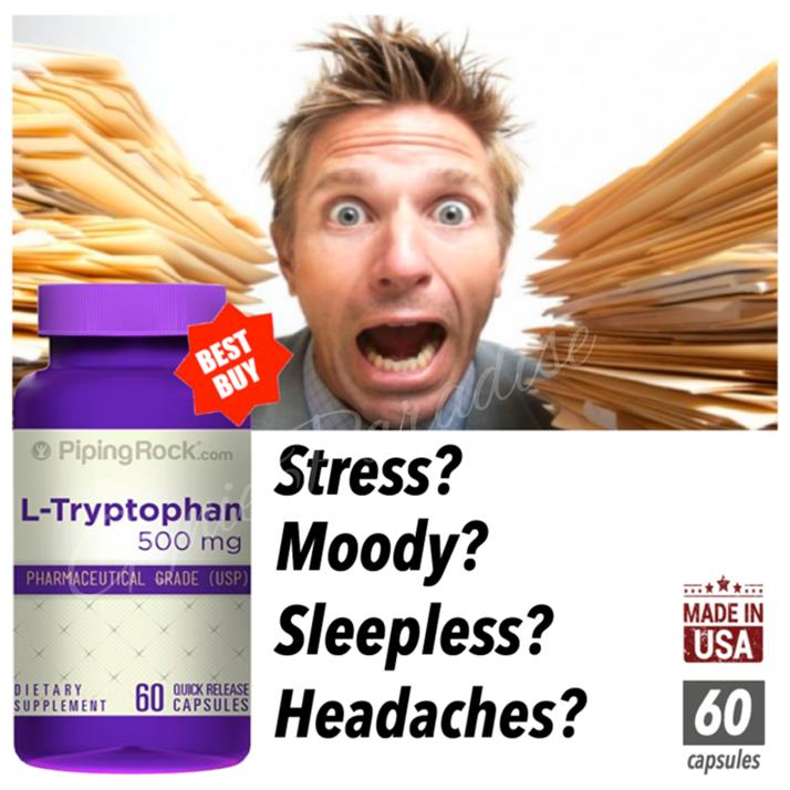 L-Tryptophan 500mg USP, 60 Caps (5htp, 5-htp, Melatonin, Mood, Sleep)