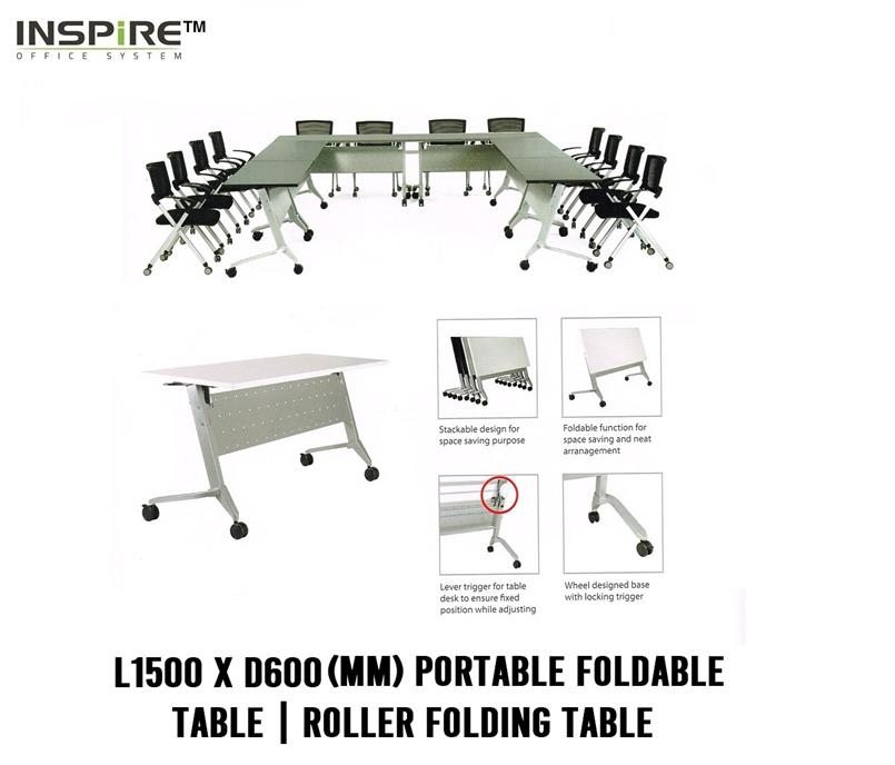L1500 x D600(mm) FLICK-I Portable Foldable Table|Roller Folding Table