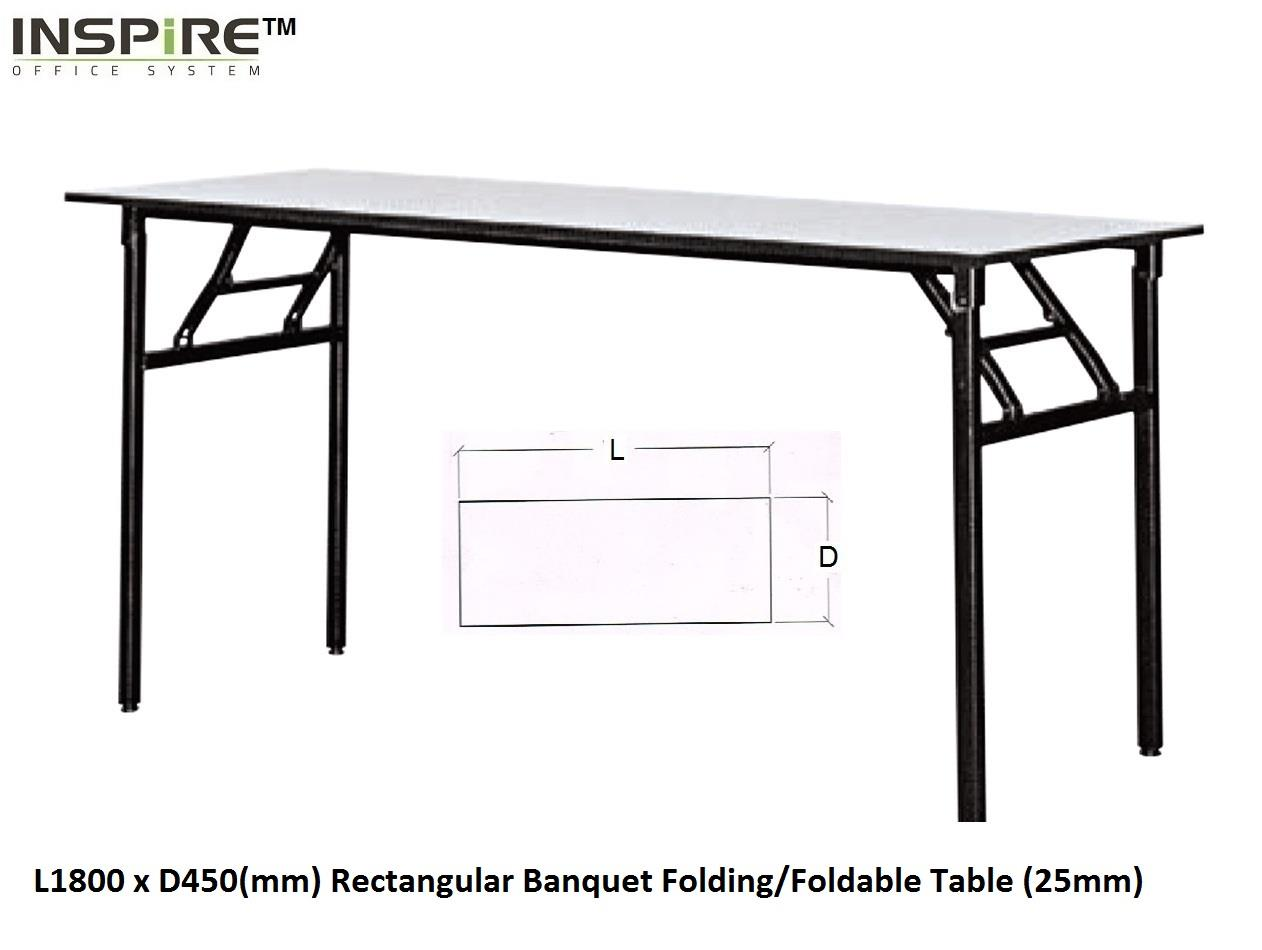 L1800 x D450(mm) Rectangular Banquet Folding/Foldable Table (25mm)