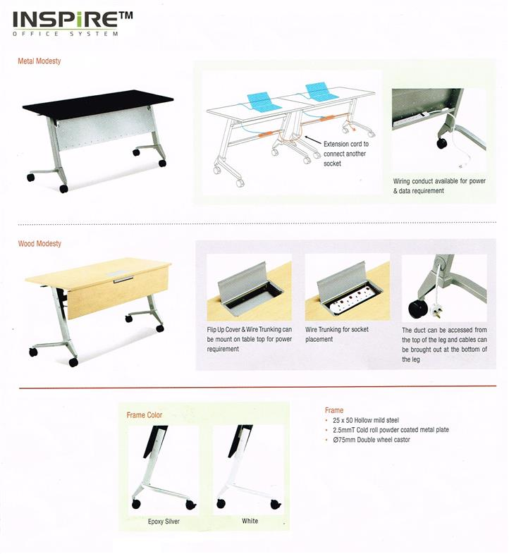 L900 x D600(mm) Portable Foldable Table | Roller Folding Table