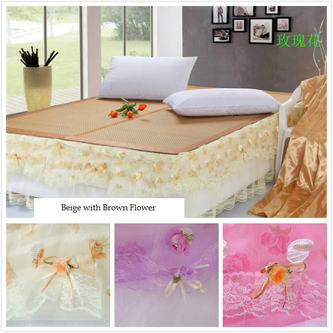 Lace Bed Skirt Beige Bedsheet 6 Ft