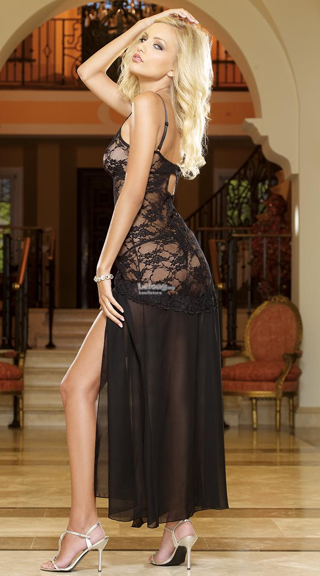 Lace sling hem split-sex sexy dress