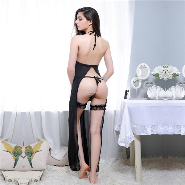 Ladies erotic lingerie side slit dress set