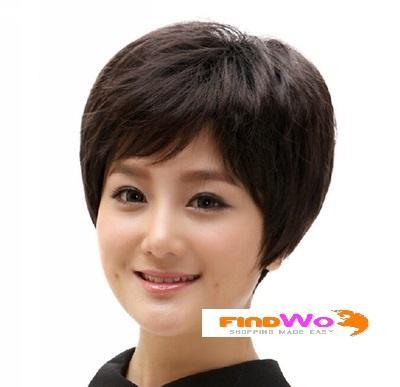 Lady Middle-aged Short Dark Brown Wig 女士棕黑..