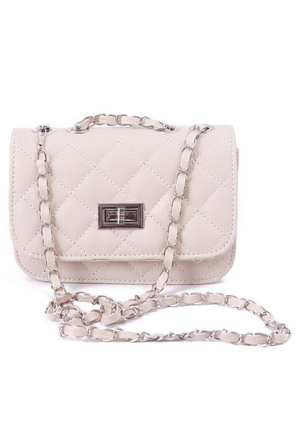 Lady Quilted Leather Chain Crossbody Bag	- Beige