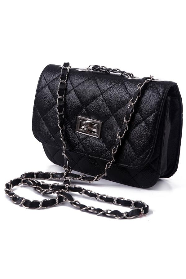 Lady Quilted Leather Chain Crossbody Bag	- Black