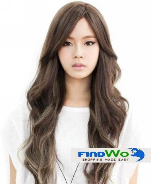Lady Wig Long Slanting Bangs Fluffy Hair LL494