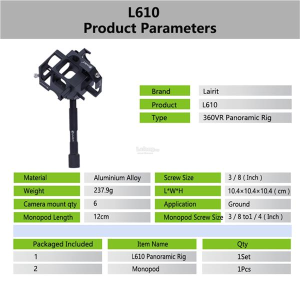 Lairit L610 360 video spherical Panoramic rig for 6 gopro hero3/4