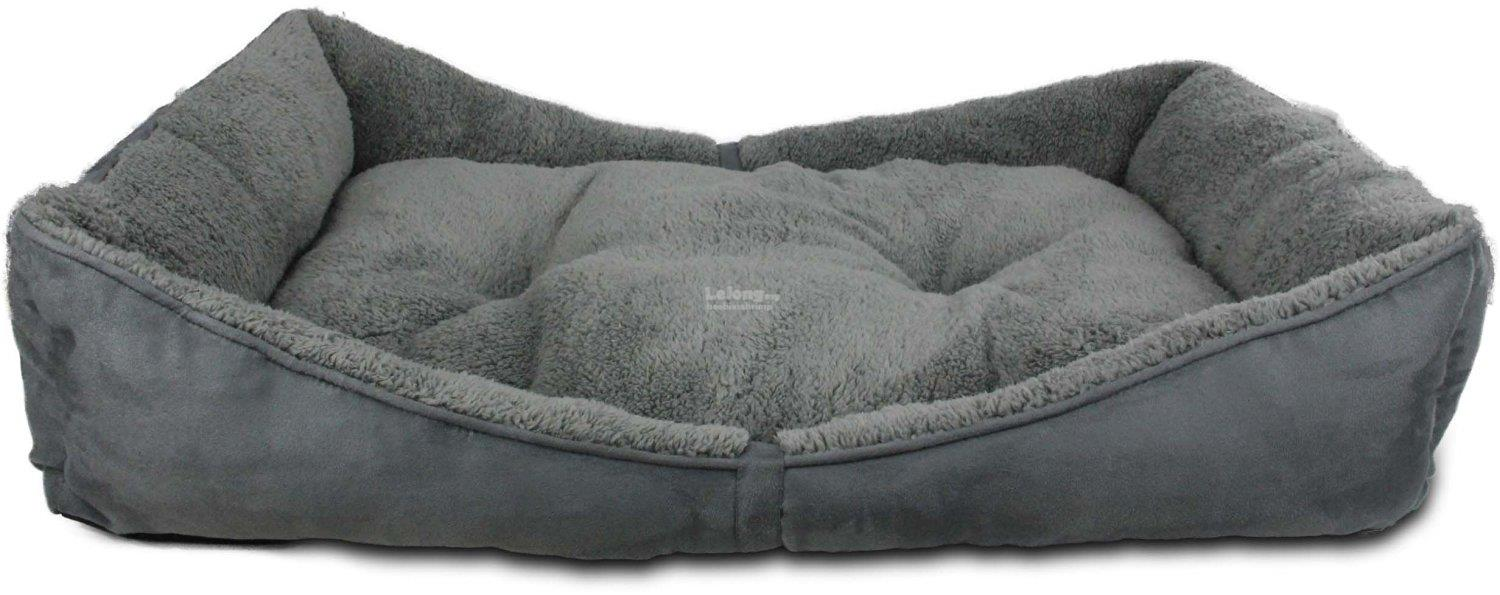 Lambswool Bolster Pet Bed Large -Grey