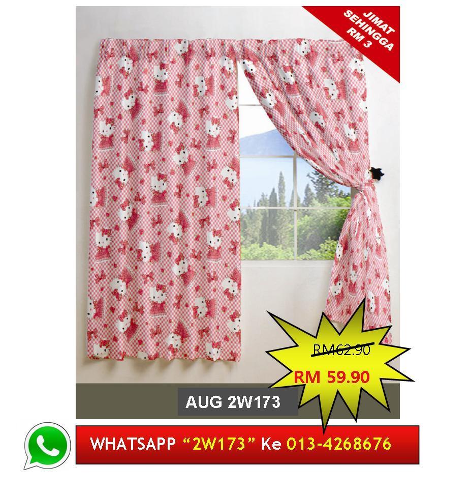 Langsir Tingkap Siap Jahit Hello Kitty Readymade Curtain