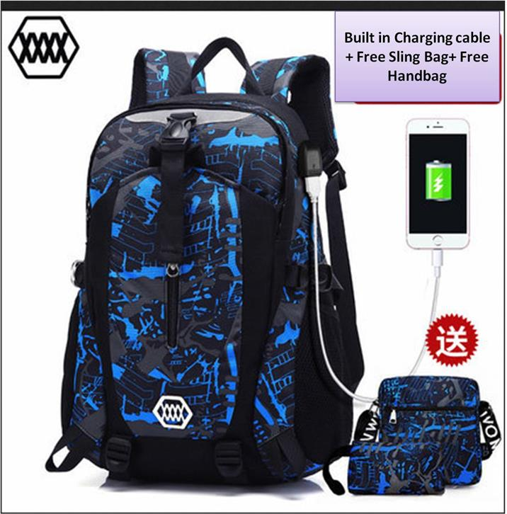 Laptop backpack bag set A2/with USB Charging Cable/Ready Stock