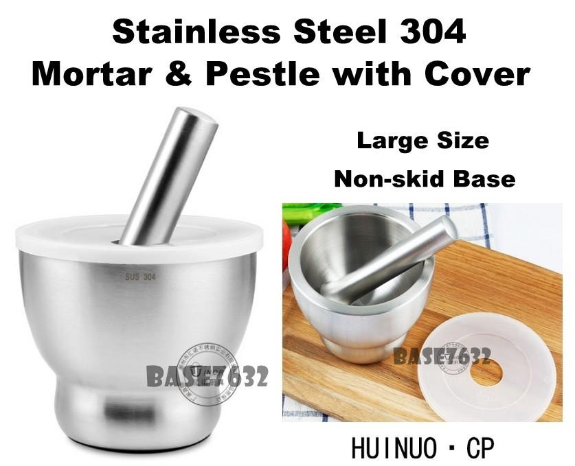Large 304  Stainless Steel Mortar and Pestle Grinder Set w/ Cover Lid