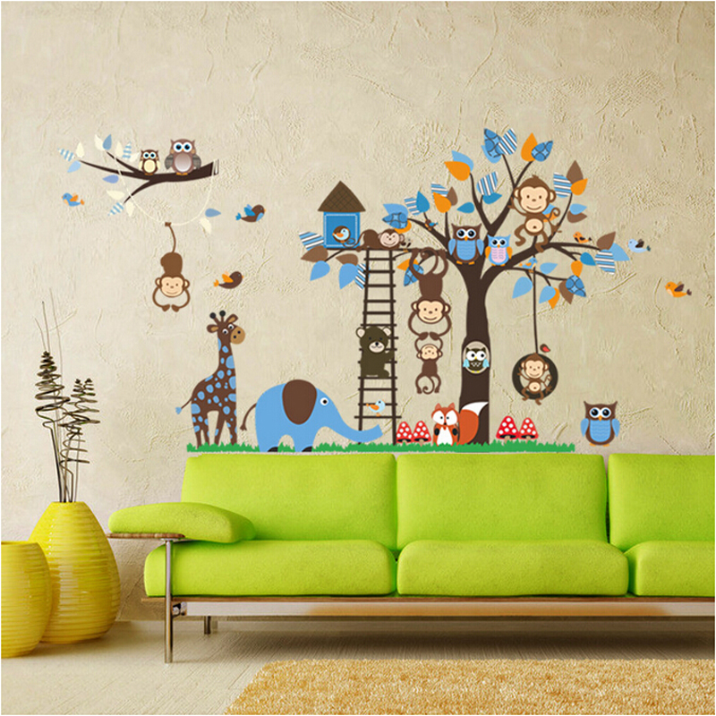 Large Jungle Animal Tree Kids Wall S