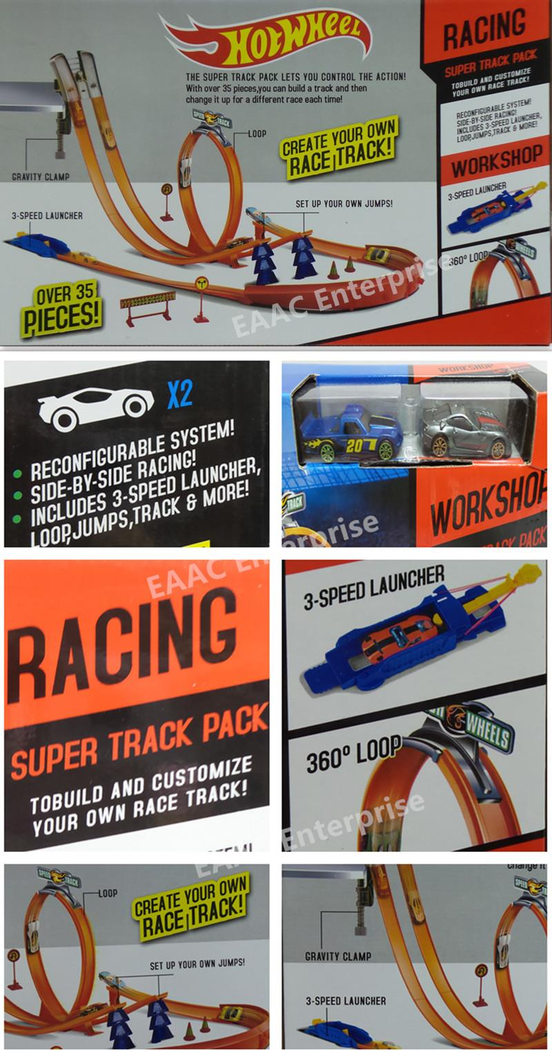 Large Set of Hot Wheels 360 Speed Powerful Spin Way Track 2 Race Cars