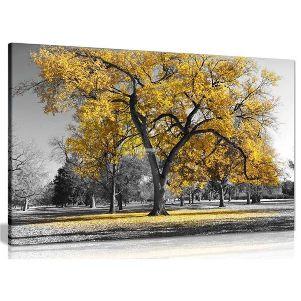 Large Tree Yellow Leaves Nature Print Pictures Canvas Wall Art Prints