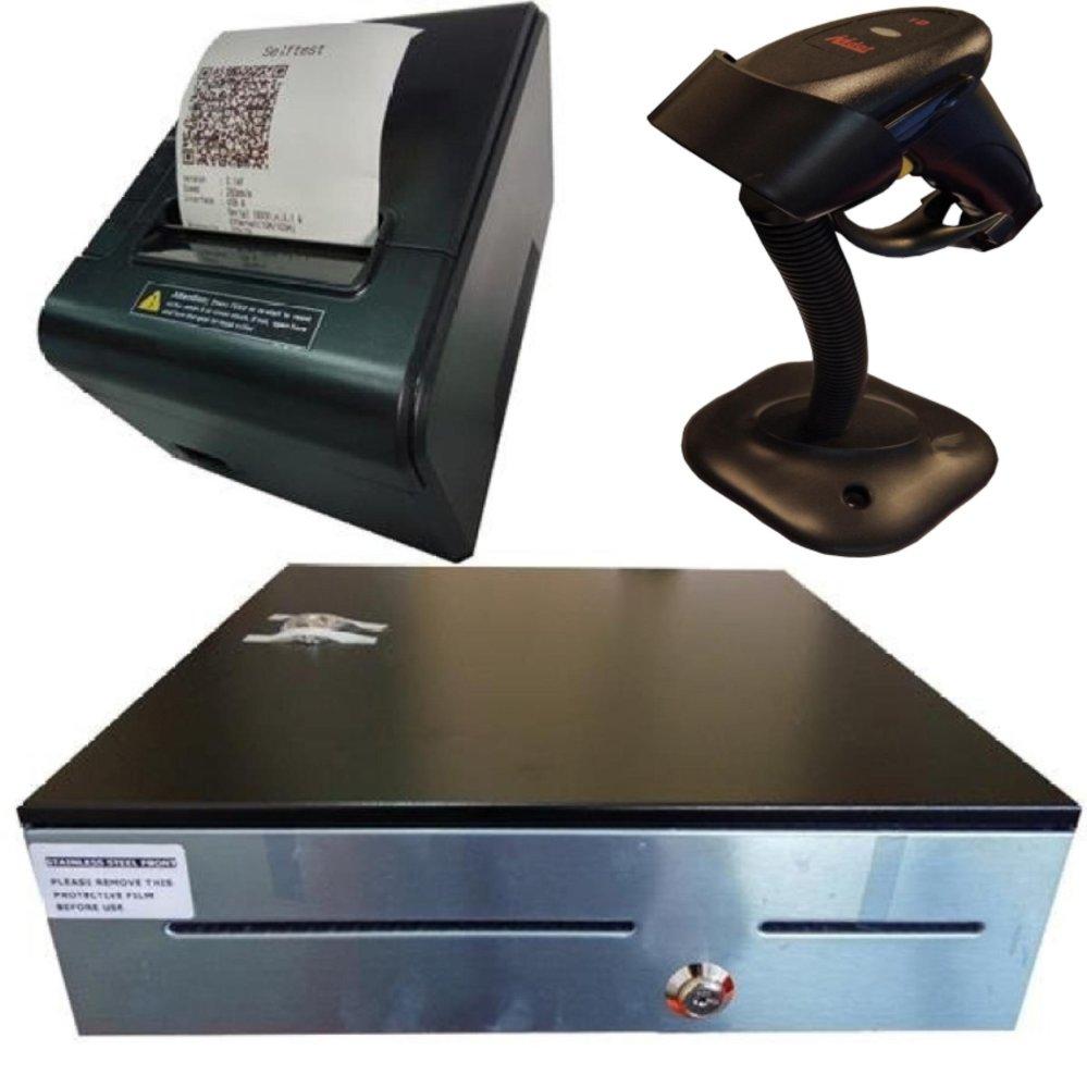 Laser Barcode Scanner + Thermal Receipt Printer 80mm + Cash Drawer