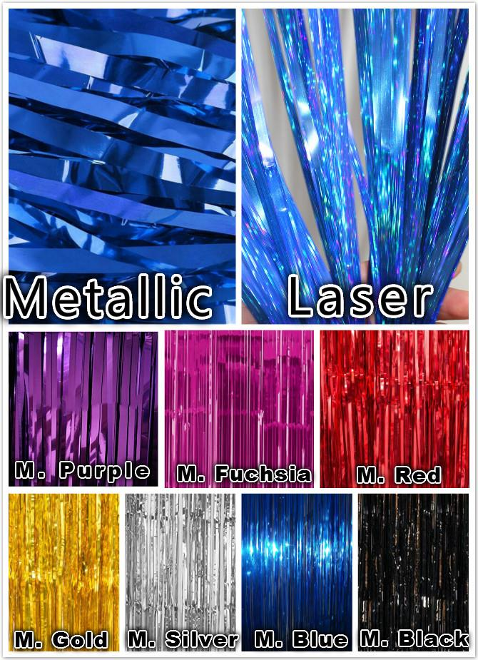 Laser/Metallic Foil Tinsel Streamer Shimmer Curtain 91cm x 240cm Deco