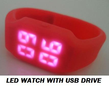 LATEST Unique 8GB USB DRIVE with LED WATCH SILICONE SPORT WATCH