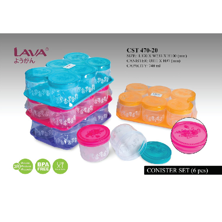 LAVA CST470/20 6pcs Canister Set with Tray 740ML