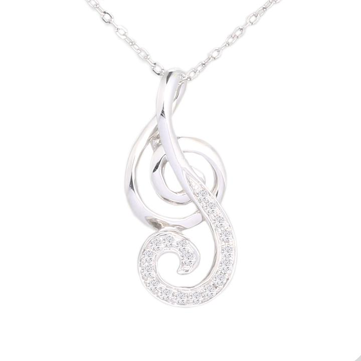 Lazo Diamond La Cantante of Love 9K White Gold Diamond Pendant -DPB645