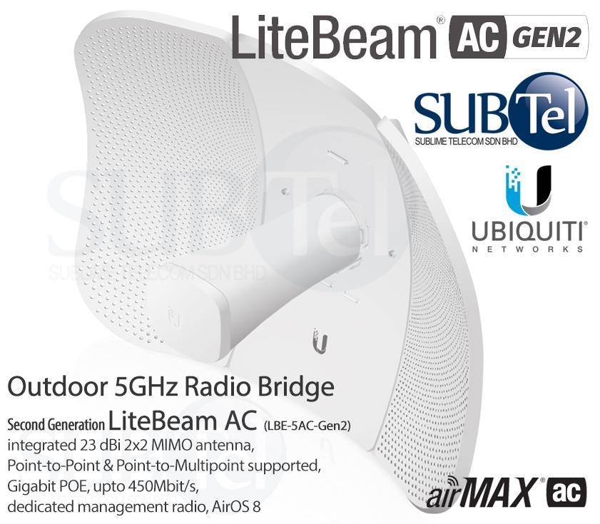LBE-5AC-Gen2 Ubiquiti LiteBeam AC 5 GHz Licensefree Radio Bridge UBNT