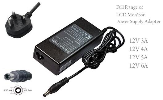 LCD Monitor 12V 4A Power Supply Adapter 48W 5.5x2.5mm