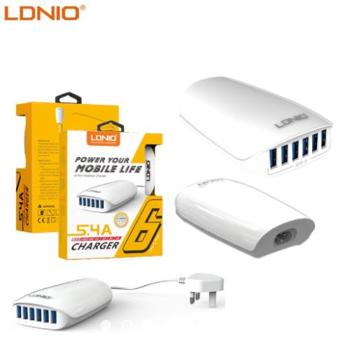 LDNIO 6 Port 5.4A USB Power Portable Travel Smart Charger - A6573