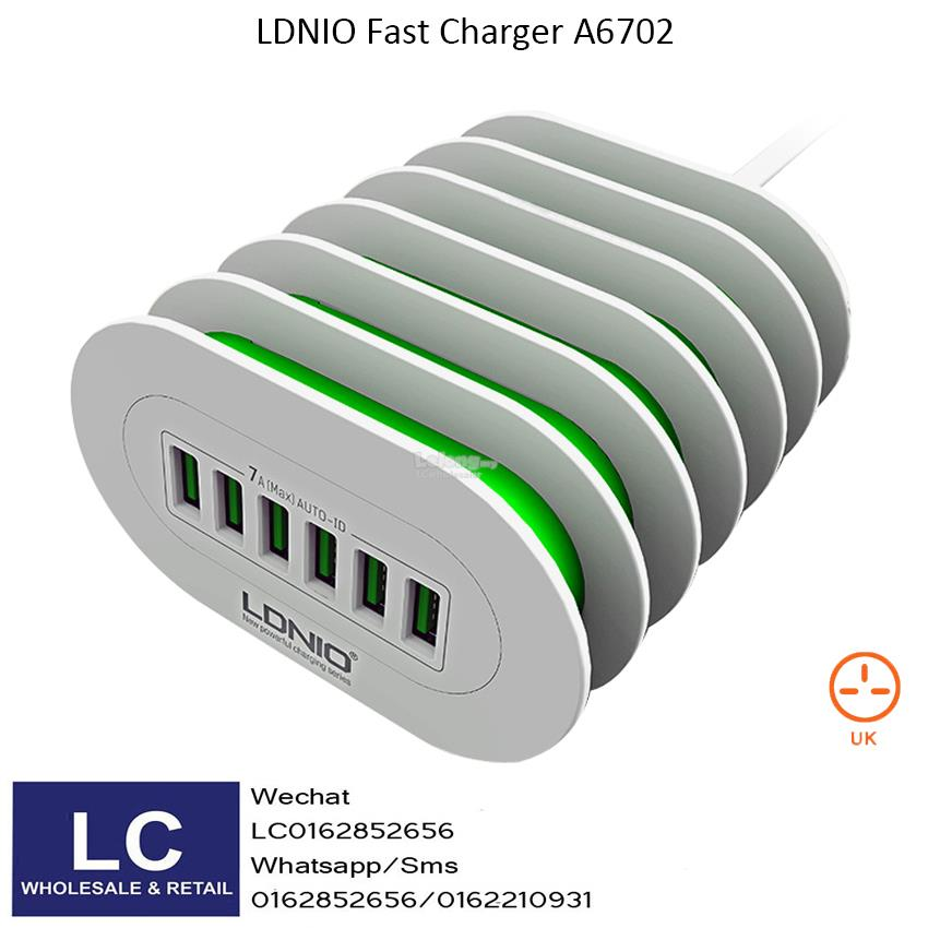 LDNIO 7A 6 Port Quick Charge Charger A6702 (Original)