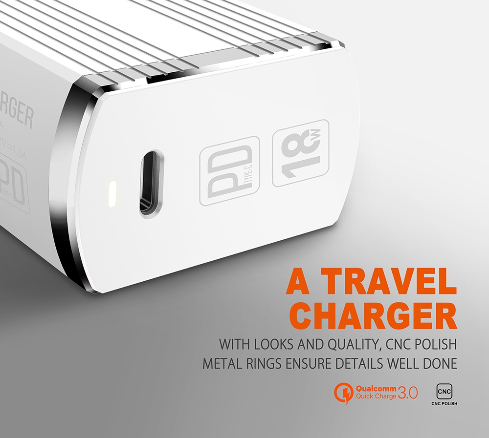LDNIO A1302Q-C USB Wall Charger 5V 3A PD Type-C Charging Fast Charge QC3.0