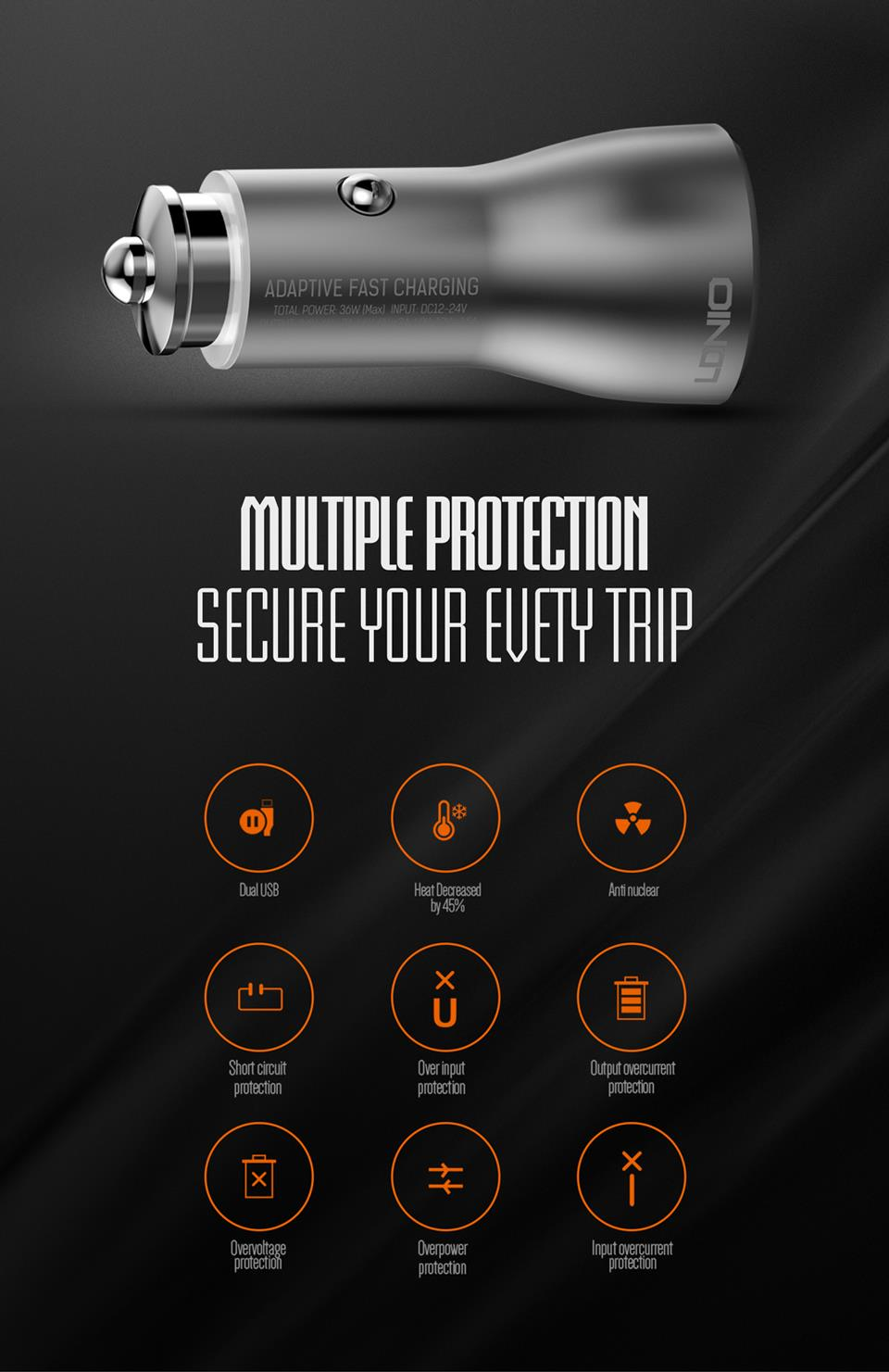LDNIO C407Q Dual 2 Double Qualcomm Quick Charge QC 3.0 USB Car Charger