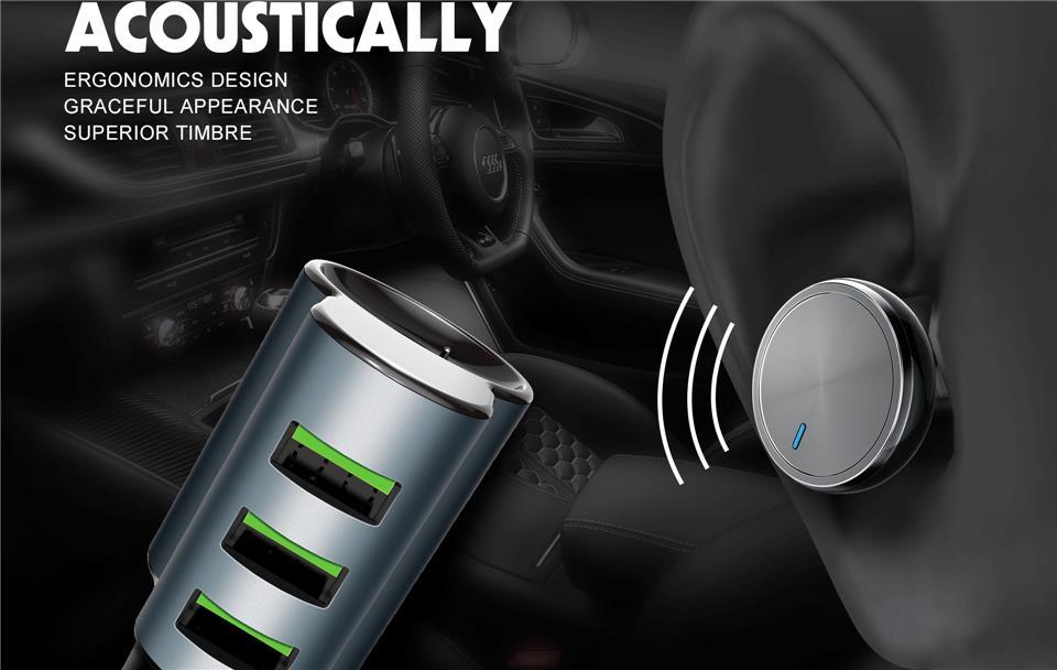LDNIO CM21 Smart Bluetooth Headset 4.2A Auto-ID 3 USB Port Car Charger