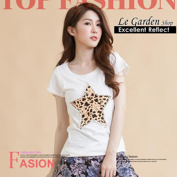 Le Garden Shop - Three-Dimensional Pearl Lycra Cotton T-Shirt TO15045