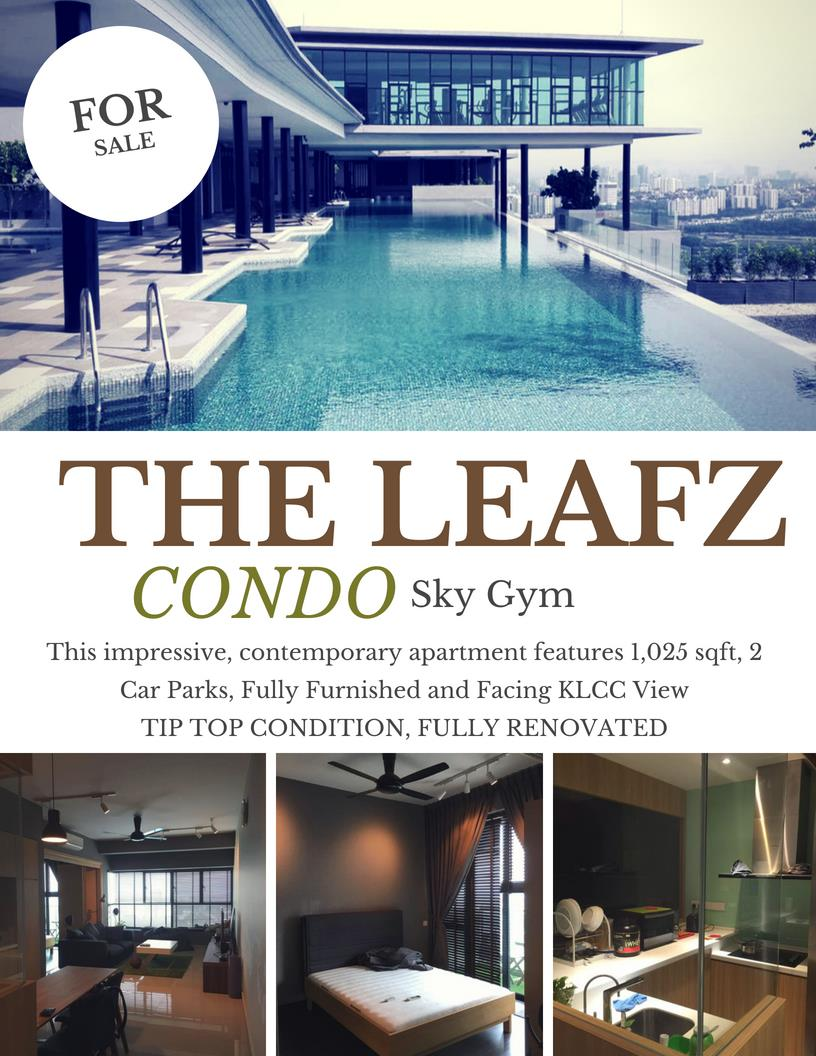 The Leafz Condo for sale, Fully Furnished, 2 Car Parks, Sungai Besi