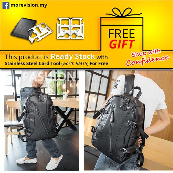 Leather Backpack Laptop Bag Light Weight Waterproof Travel Bag 174
