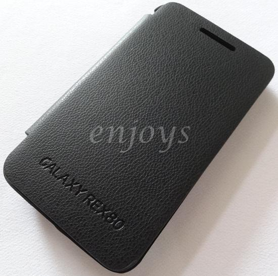 Leather BLACK Flip Battery Cover Pouch Case for Samsung Rex 80 S5222R