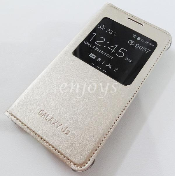 Leather GOLD S View Case Cover Pouch Samsung Galaxy J2 /J200F *XPD