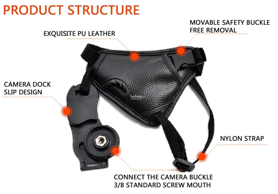 Leather Hand Grip Strap for DSLR Cameras