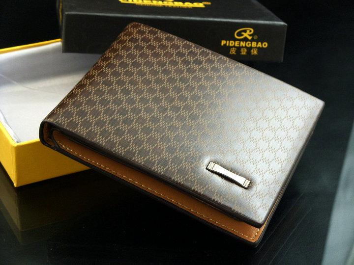 leather men's checkered wallet