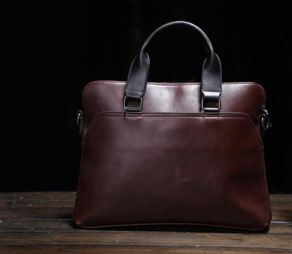 18754db6ed97 Leather Messenger Briefcase Bag Men Office Document